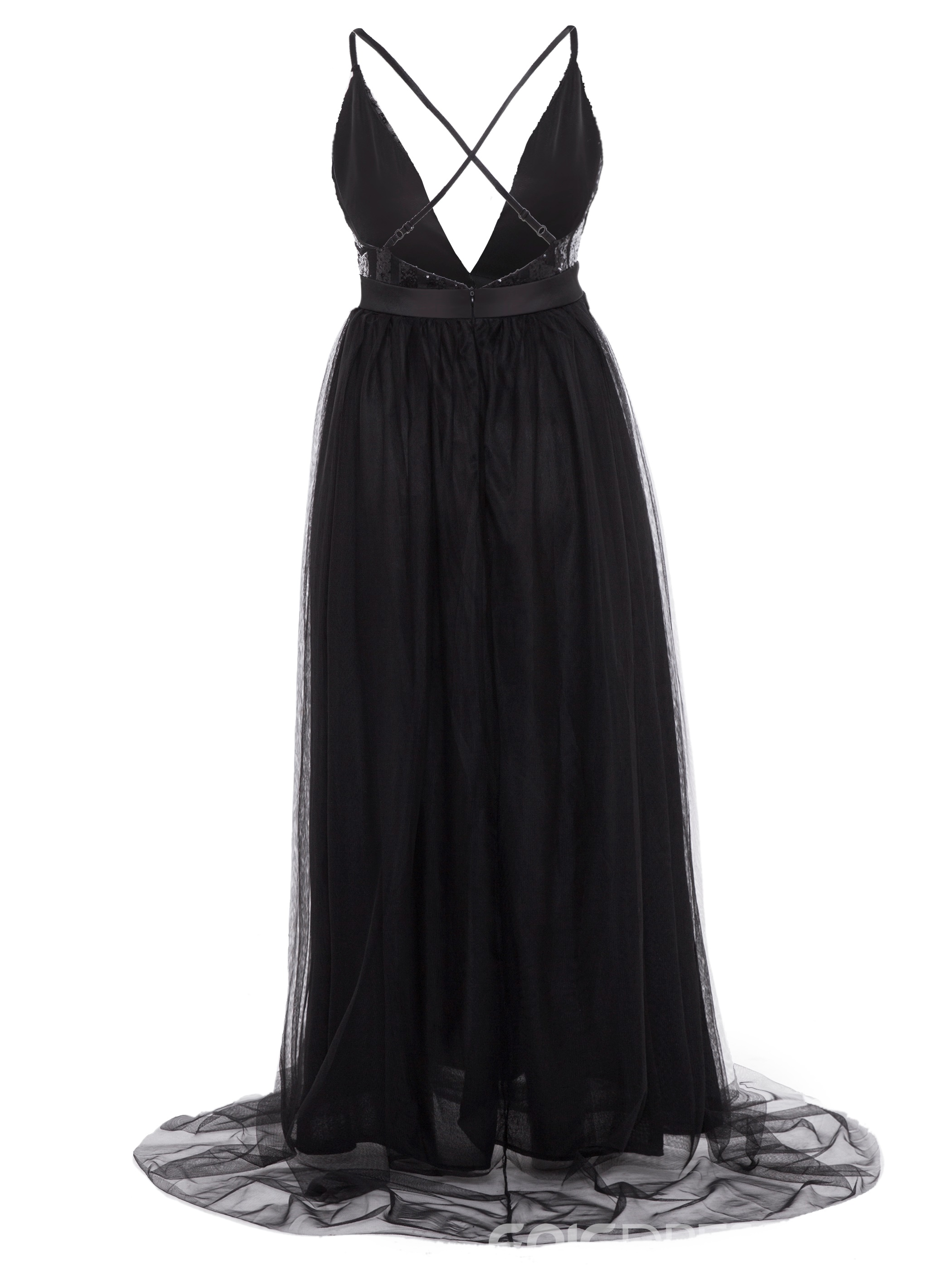 Ericdress Backless Sequin Expansion Maxi Dress