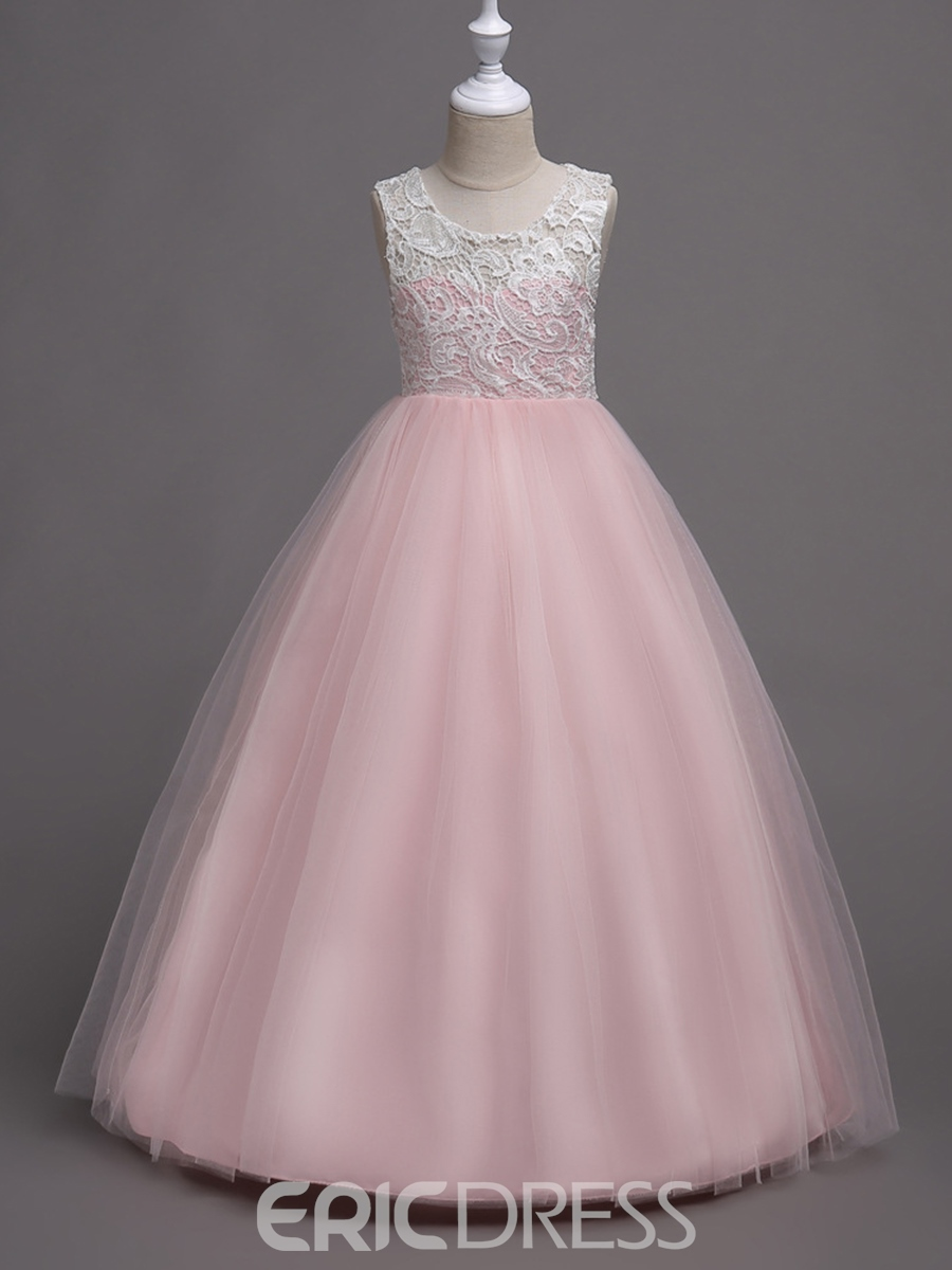 Ericdress Lace Patchwork Ball Gown Girl's Dress