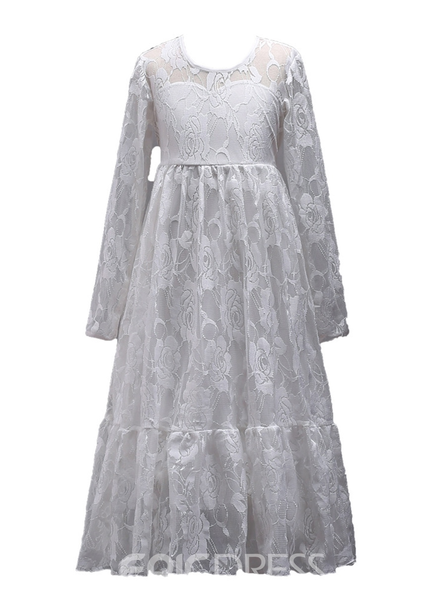 Ericdress Plain Long Sleeve Bowknot Girl's Lace Princess Dress