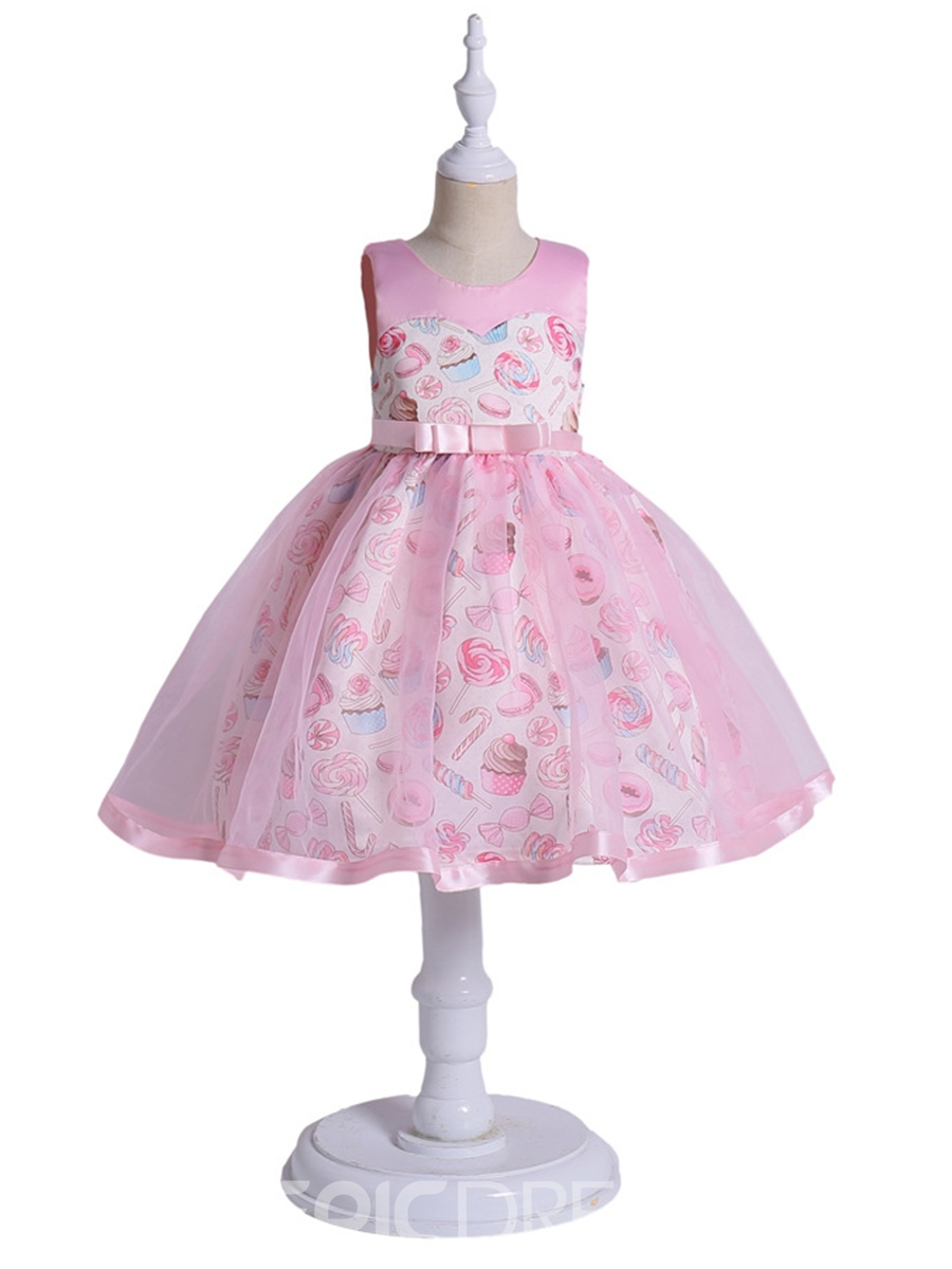 Ericdress Pink Mesh Patchwork Print Girl's Dress
