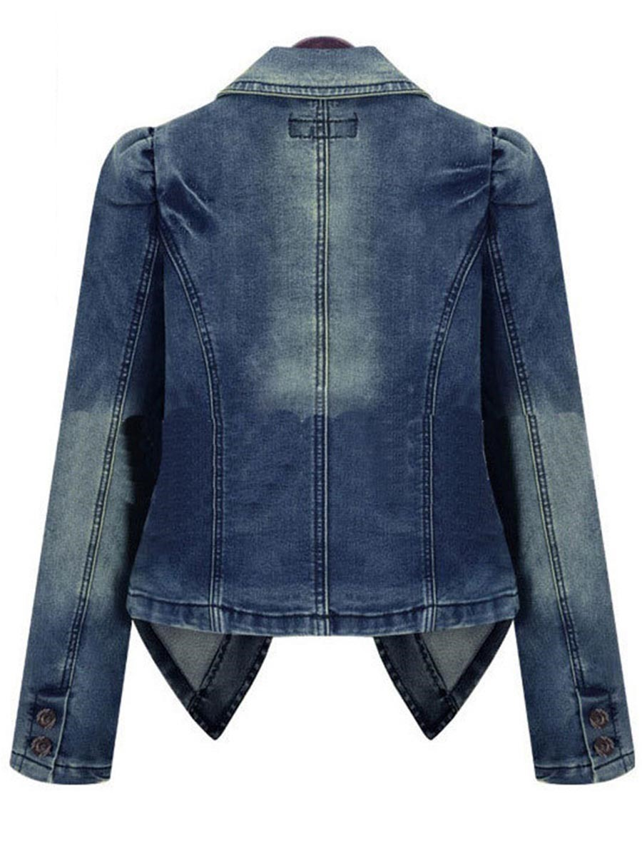 Ericdress Single-Breasted Lapel Denim Outerwear