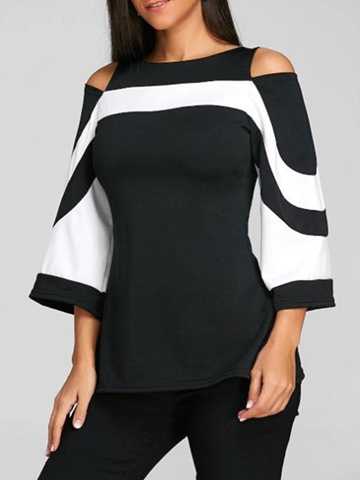 Ericdress Slim Cold Shoulder Color Block Mid-Length Tee