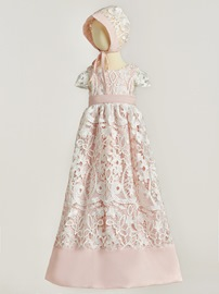 Ericdress Gorgeous Mesh Lace Baby Girl Christening Dress with Bonnet