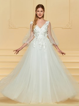Ericdress A Line Tulle Wedding Dress with Sleeves