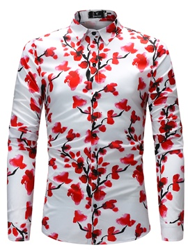 Ericdress Men's Lapel Floral Printed Slim Fit Cotton Shirts