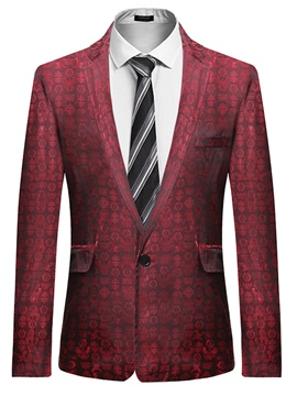 Ericdress Notched Lapel One Button Men's Print Jacket Blazer