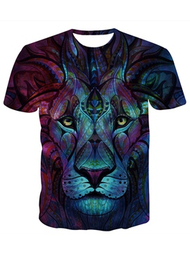 Ericdress Loose Cartoon Lion Print Men's Short Sleeve T Shirt