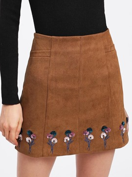 Ericdress Floral Embroidery A-Line Women's Skirt