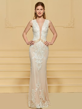 Ericdress Sheath V Neck Lace Wedding Dress