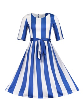 Ericdress Stripe Lace-Up Women's A Line Dress