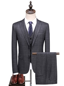 Ericdress Men's Plaid 3 Piece Slim Fit Casual Suit