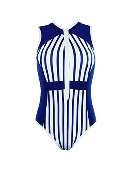 Ericdress Stripe Deep V One Piece Bathing Suit