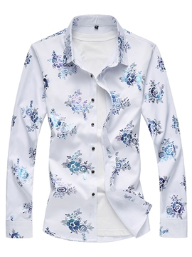 Ericdress Lapel Floral Printed Men's Cotton Slim Fit Shirts