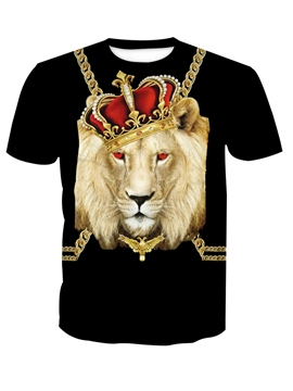 Ericdress Lion Print Color Block Men's Short Sleeve T Shirt