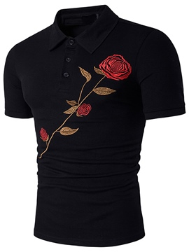Men's Clothing Floral Rose Printed Slim Polo T Shirt