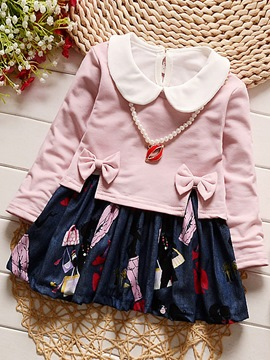 Ericdress Long Sleeve Top And Print Dress Girl's 2-Pcs Outfit