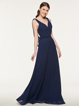 Ericdress V-Neck Backless A-Line Bridesmaid Dress