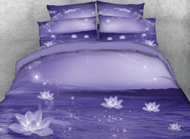 Vivilinen 3D Sparkle Lotus Printed 4-Piece Purple Bedding Sets/Duvet Covers