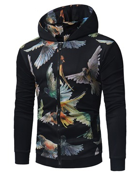 Ericdress Men's Bird Printed Zipper Slim Fit Hoodies