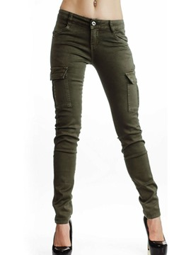 Ericdress Slim Plain Pocket Low-Waist Casual Cargo Pants