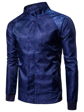 Ericdress Men's Plain Stand Collar Print Jacket Tops