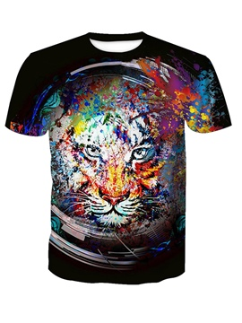 Ericdress Men's Scoop Loose Tiger Printed Short Sleeve T Shirt