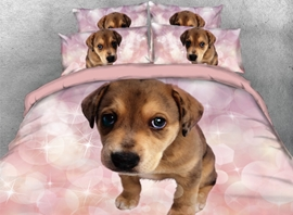 Vivilinen 3D Brown Dog with Pink Bubbles Printed 4-Piece Bedding Sets/Duvet Covers