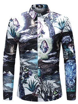 Ericdress Color Block Men's Printed Slim Fit Cotton Shirts