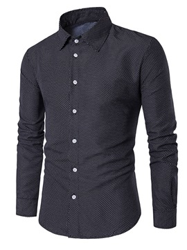 Ericdress Men's Polka Dots Lapel Slim Fit Shirts