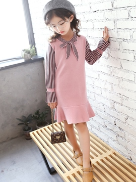 Ericdress Ruffles Patchwork Bowknot Double-Layer Girl's Sweater Dress