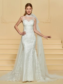 Ericdress Mermaid Embroidery Lace High Neck Wedding Dress
