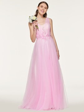 Ericdress A Line Backless Tulle Bridesmaid Dress