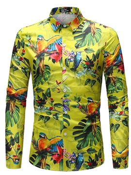 Ericdress Men's Bird Leaf Printed Slim Fit Shirts