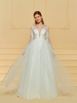 Ericdress Long Sleeves A Line Tulle Wedding Dress