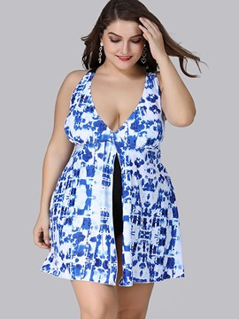 Ericdress Plus Size Split Floral Print One Piece Bathing Suit