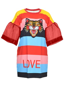 Ericdress Animal Pattern Stripe Patchwork Women's Casual Dress