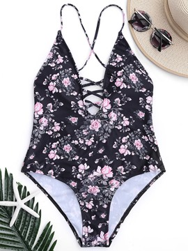 Ericdress Corset Hollow Floral Print One Piece Bathing Suit