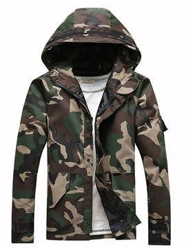 Ericdress Camouflage Men's Zipper Hooded Jacket
