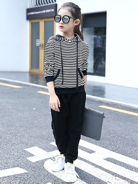 Ericdress Stripe Hoodie And Pant Girl's 2-Pcs Outfit