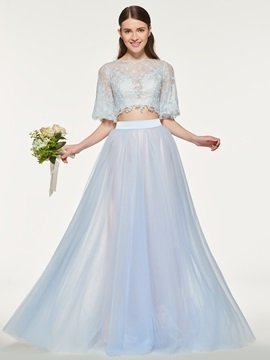 Ericdress Bateau Half Sleeves Tulle Bridesmaid Dress