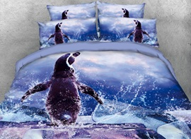 Vivilinen 3D Cute Penguin Wave Blue Ocean Ice Printed 4-Piece Bedding Sets/Duvet Covers