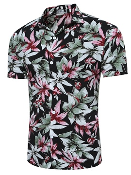 Ericdress Floral Print Color Block Mens Slim Short Sleeve T Shirt