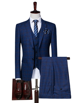 Ericdress Plaid Men's 3 Piece Casual Suit Blazer Vest Pants