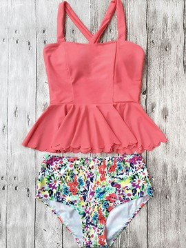 Ericdress Plain Floral Cross Strap Tankini Set