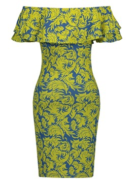 Ericdress Floral Print Falbala Patchwork Women's Bodycon Dress