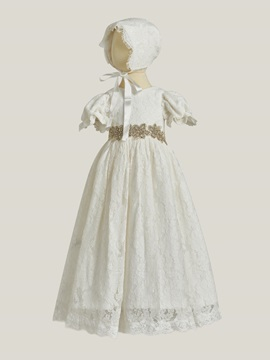 Ericdress Short Sleeves Ball Gown Lace Baby Christening Dress