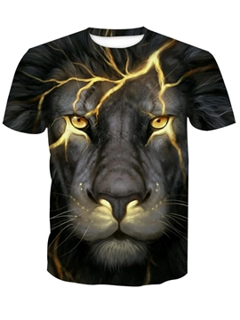 Ericdress Lion Printed Men's Scoop Short Sleeve T Shirt