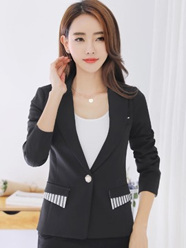 Ericdress Slim Single Button Stripe Blazer