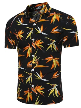 Ericdress Men's Floral Short Sleeve Slim T Shirts