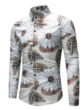 Ericdress Men's Lapel Floral Leaf Printed Slim FIt Shirts
